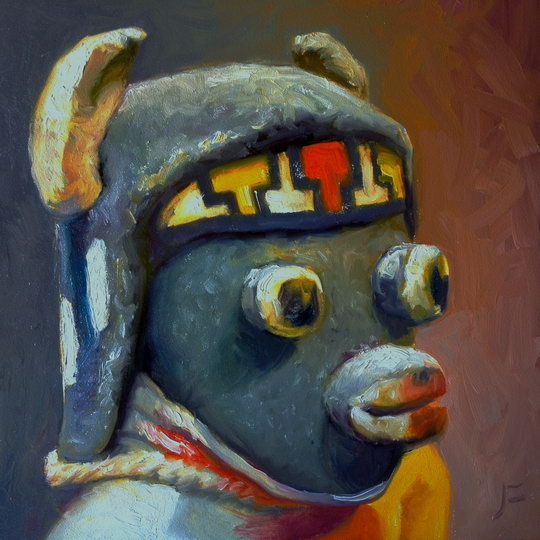 YOUNG BUFFALO KACHINA Daily Painting #635