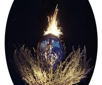 Mortal Remind I<br>Titanium, Red and Blue Fire, UV Ink<br>37 x 18
